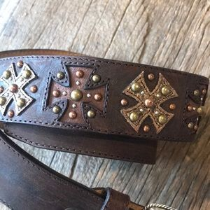Accessories - Brown leather rose/yellow gold colored stud belt